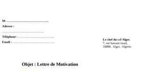 Lettre de motivation pour le ccf