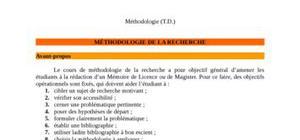 Cours sur la méthodologie de la recherche.