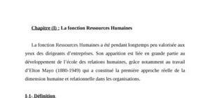 La fonction ressources humaines