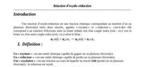 Réaction d'oxydo-réduction