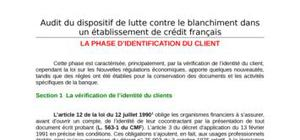 Etapes d'audit du dispositif de lutte contre le blanchiment : la phase d'identification du client