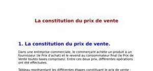 La constitution de prix de vente