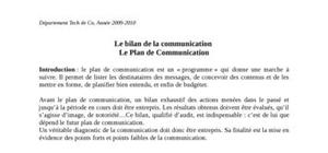 Le bilan de la communication