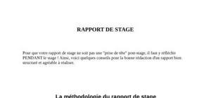 Comment rédiger un rapport de stage