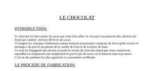 Exposé sur le chocolat