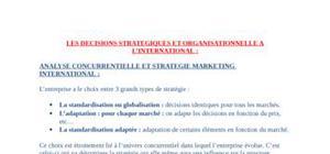 Analyse concurrentielle et strategie marketing international