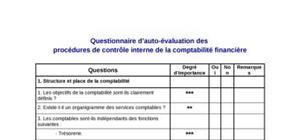 Questionnaire d'auto-évaluation des  procédures de contrôle interne de la comptabilité financière