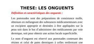 Les onguents,définition et caractéristiques.les bases pour les onguents,et leur influence sur l'effet therapeutique