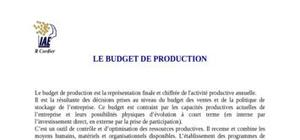 Le budget de production