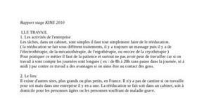 Exemple rapport de stage 3eme kine document online - Rapport de stage 3eme cabinet medical ...