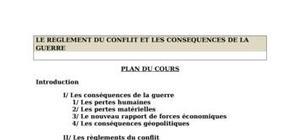 Le reglement du conflit et les consequences de la guerre
