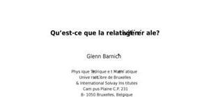 Qu'est-ce que la relativité générale ?