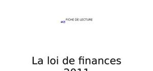 Loi de finance 2011 maroc