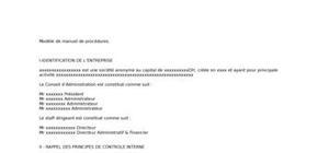 Modèle de manuel de procédures