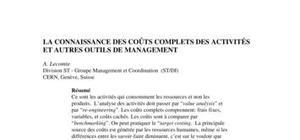 La connaissance des coÛts complets des activitÉs et autres outils de management