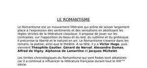 Le mouvement litteraire  romantisme