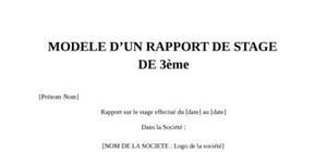 Rapport de stage 3eme