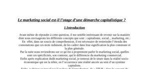 Le marketing social est-il l'otage d'une démarche capitalistique ?