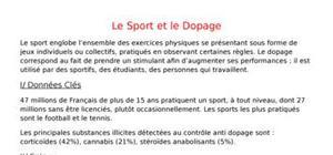 Le sport et le dopage