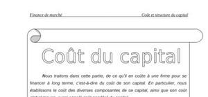 Coût et structure du capital