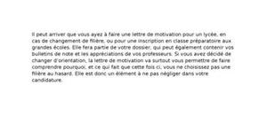 Lettre de Motivation Lycée