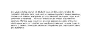 Lettre de Motivation Job