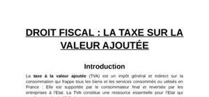 La taxe sur la valeur ajoutÉe