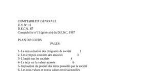 Comptabilité n°11 (générale) du d.e.s.c. 1987