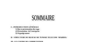 Rapport de stage en tunisie telecom