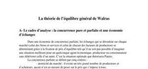 La théorie de l'équilibre général de walras
