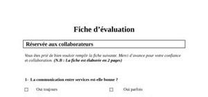 Questionnaire evaluation du personnel