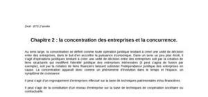 Chapitre 2 : la concentration des entreprises et la concurrence.