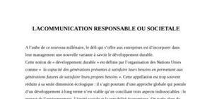 Lacommunication responsable ou societale