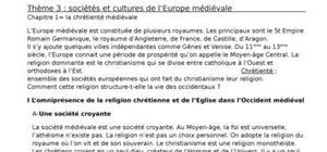 Sociétés et cultures de l'europe médiévale