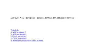 Le sql de a à z : 1ere partie - bases de données, sql et types de données