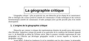 La géographie critique