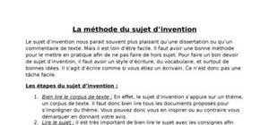 La méthode du sujet d'invention