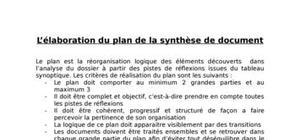 L'élaboration du plan de la synthèse de document