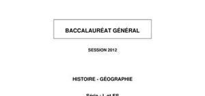 Sujet BAC L Histoire-Géographie 2012