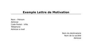 Exemple Lettre de Motivation
