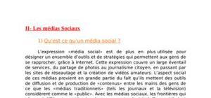 Etude des  médias sociaux