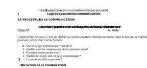 Bases communication interpersonnelle.