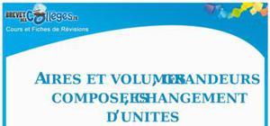 Aires et volumes : Fiche de révision brevet
