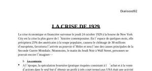 La crise de 1929 - Causes / Conséquences