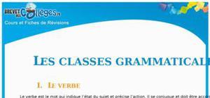 Les classes grammaticales : Fiche de révision Brevet