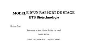 Rapport de Stage BTS Biotechnologie