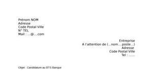Lettre de motivation BTS Banque