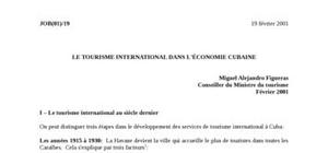Le tourisme international dans l'economie cubaine