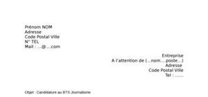 Lettre de motivation BTS Journalisme