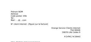 Lettre de résiliation Orange Internet